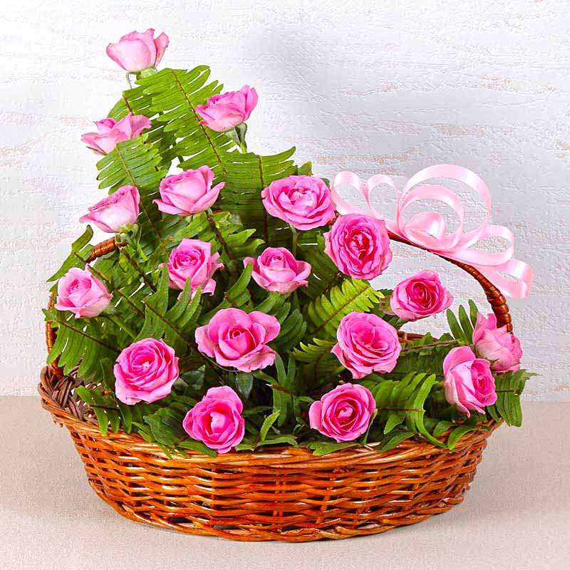 Pretty Pink Rose Basket