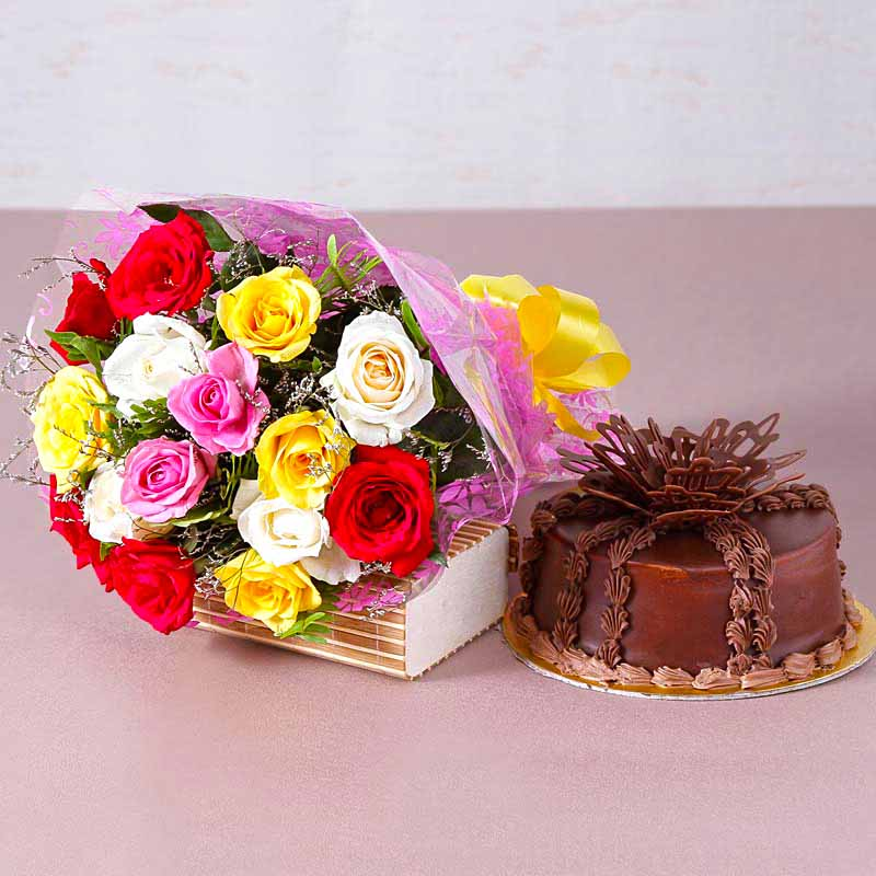 Fifteen Colorful Roses Bouquet with One Kg Chocolate cake