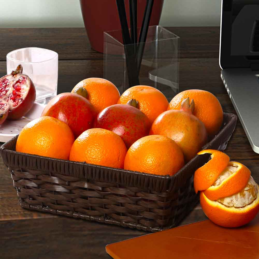 Basket of Orange and Pomegranates