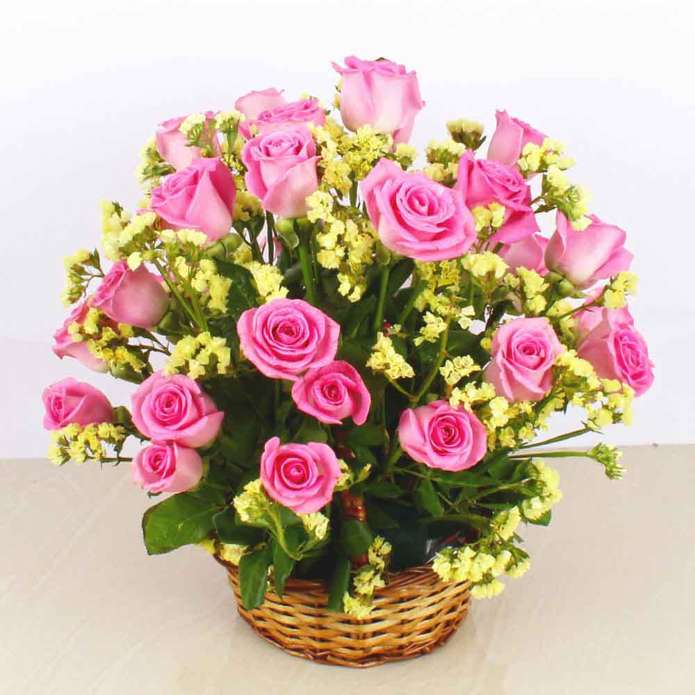 Pink Roses Basket Arrangement