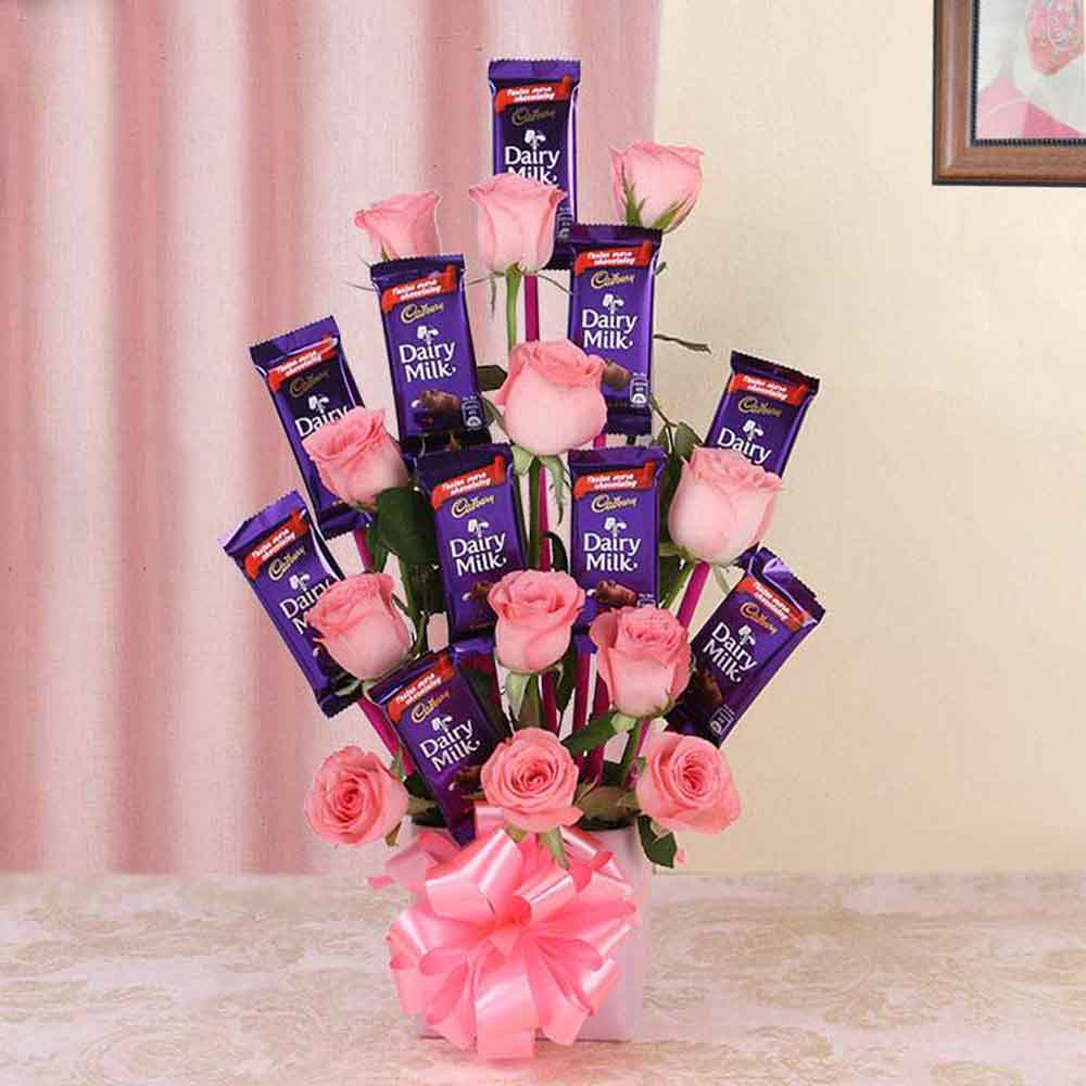 All Over India-Pretty Pink Cadbury Chocolate Bouquet