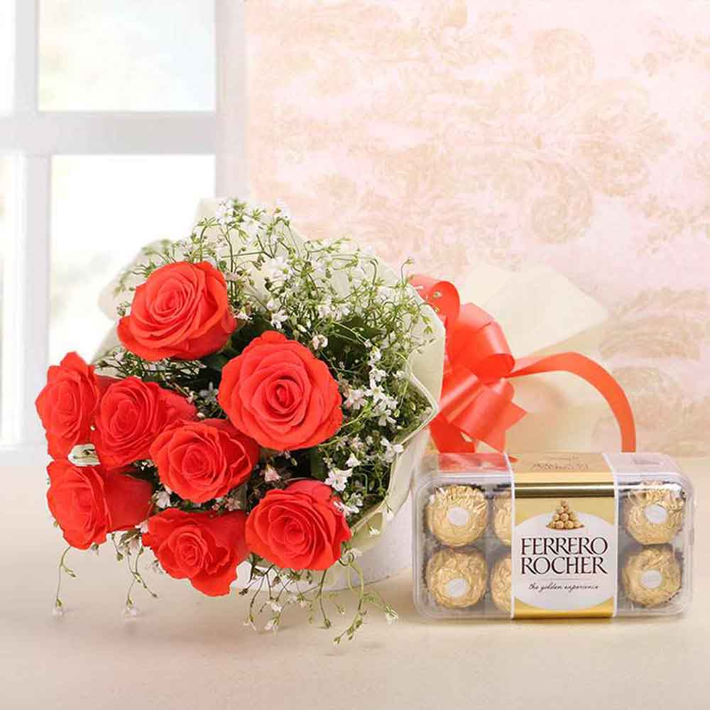 Roses with Ferrero Rocher Chocolate