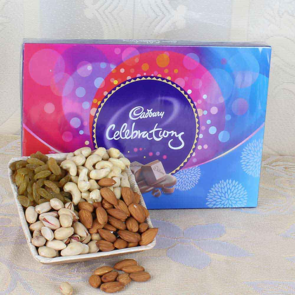 Cadbury Celebration Chocolate with 400 Grams Assorted Dry Fruits Box Express Delivery