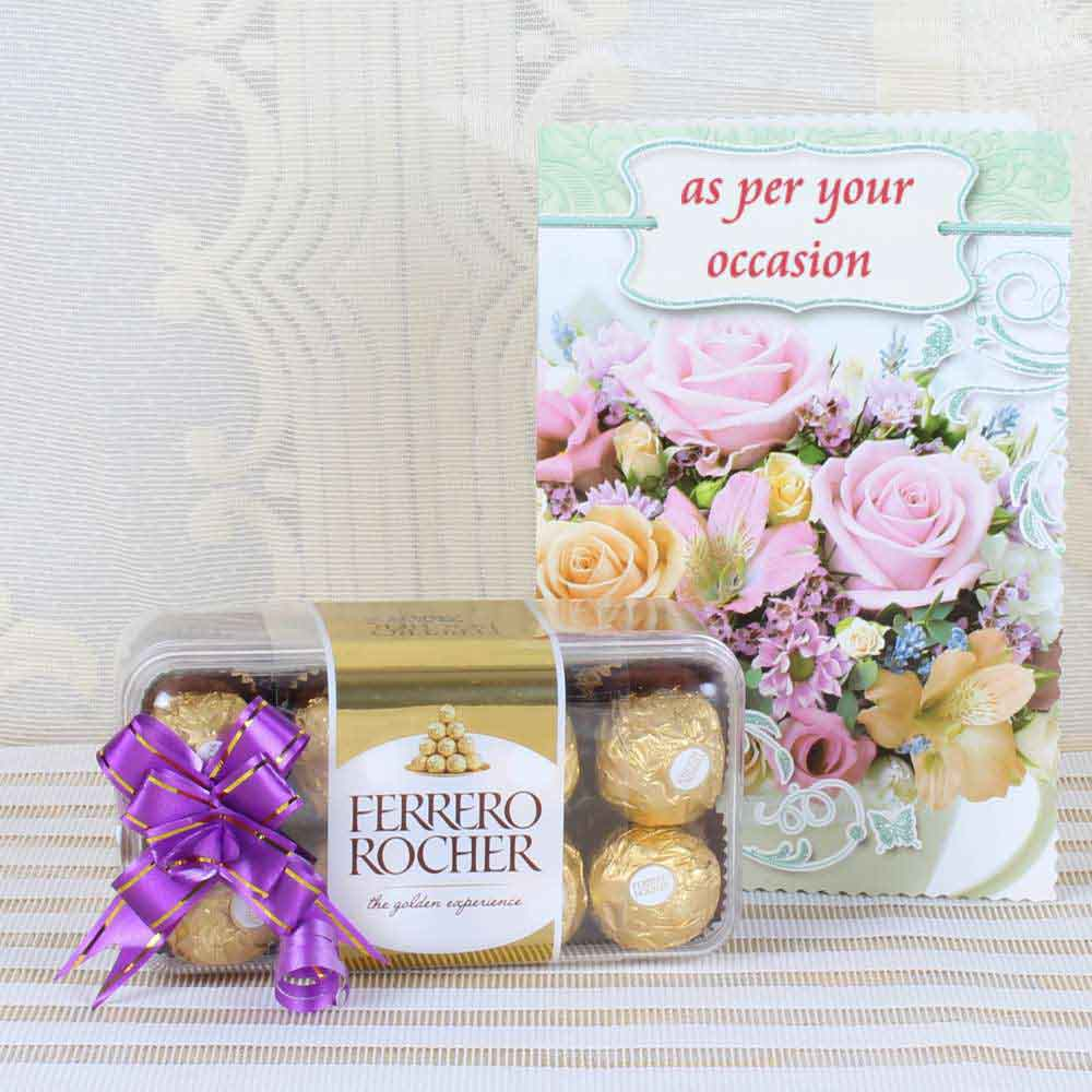 Imported Brands-Express Gift of 16 Pcs Ferrero Rocher Box with Greeting Card