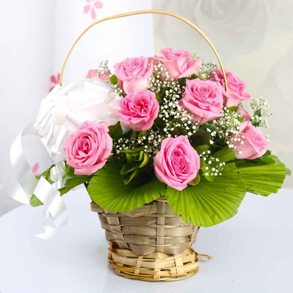 Flower Baskets-Elegant Pink Roses Basket