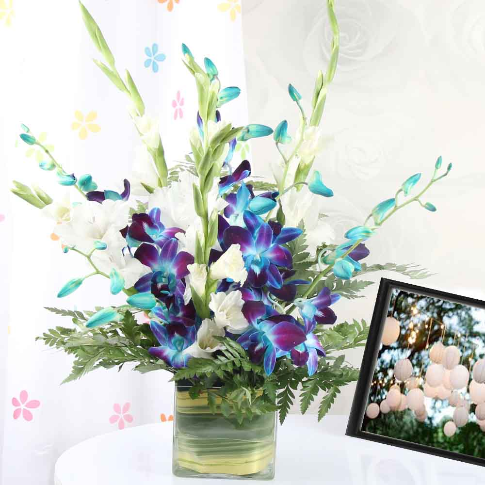 Vase Arrangements-Blue and White Orchids in a Glass Vase