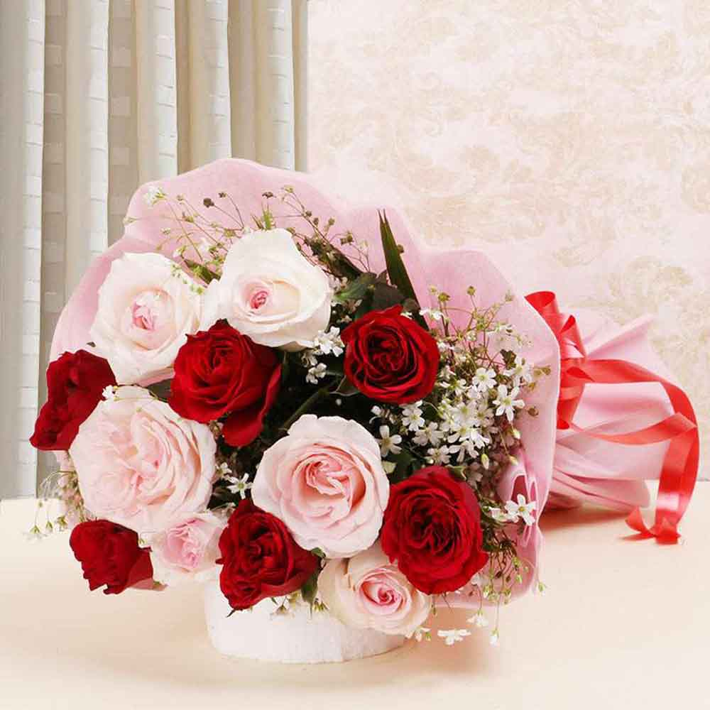 Designer Arrangements-Glamorous Red and Pink Roses Bouquet