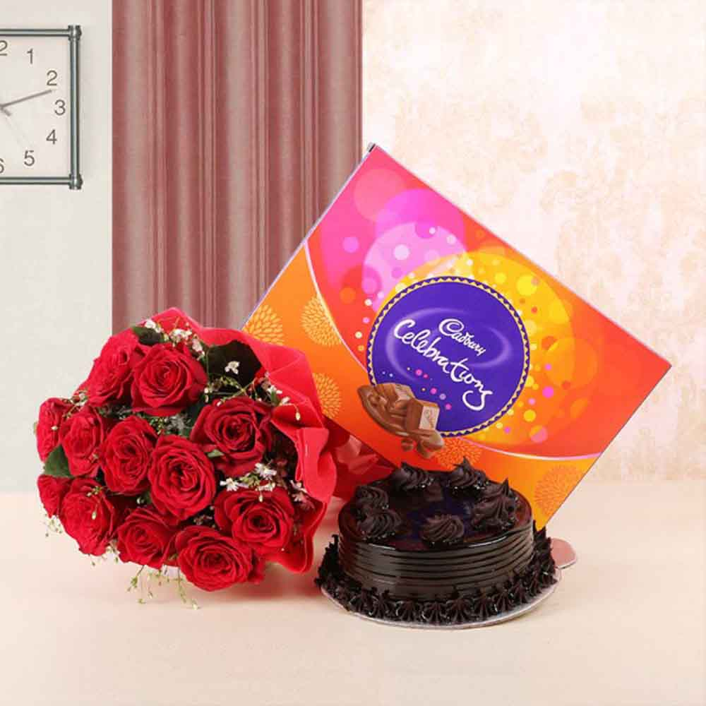 Chocolates & Flowers-Hamper of Roses and Cake with Celebration Pack