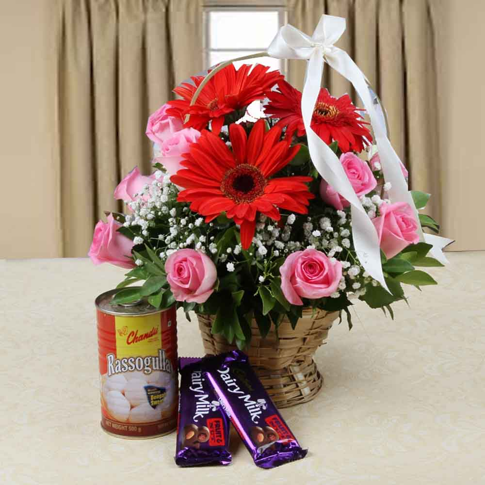 Mix Flowers Arrangement with Cadbury Dairy Milk Chocolate and Rassogulla