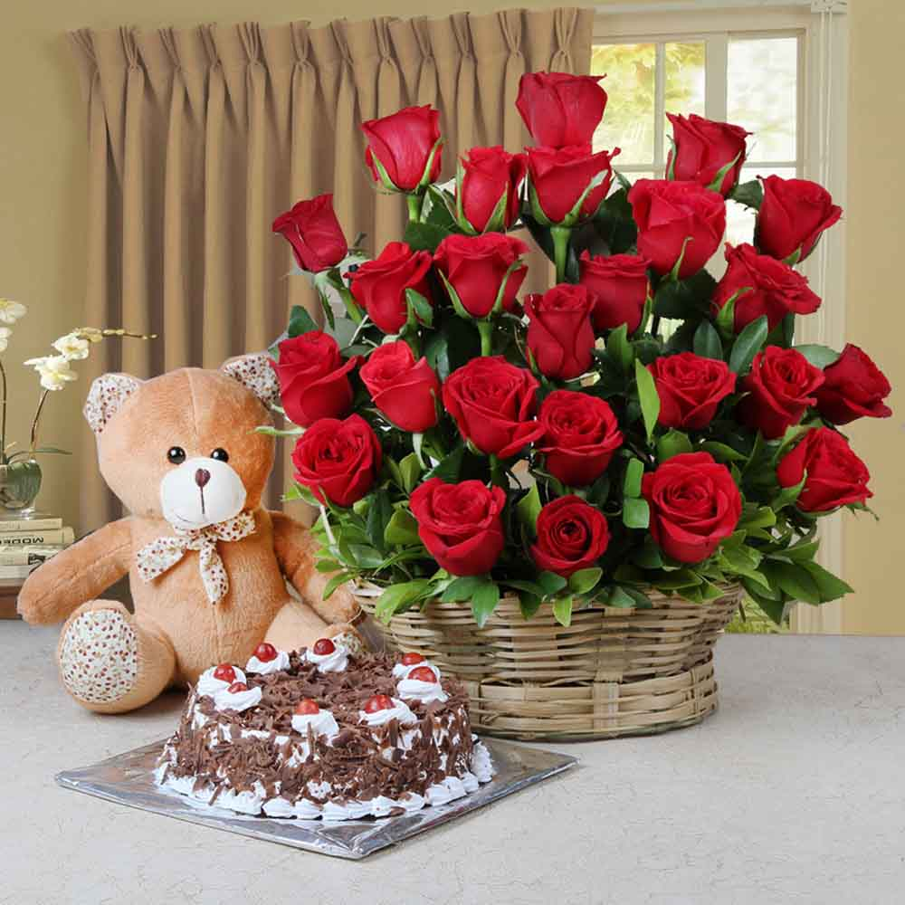 Cakes & Flowers-Arrangement of Red Roses and Half Kg Black Forest Cake and Teddy