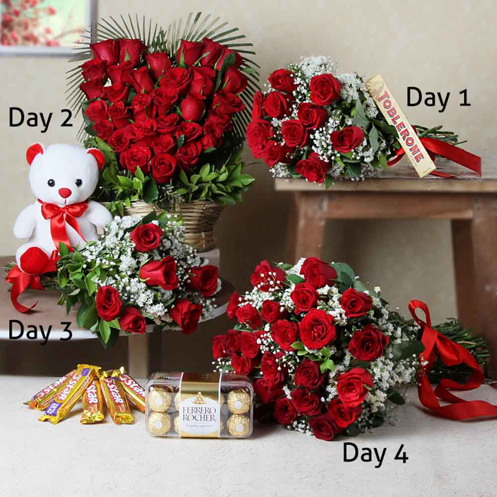 Chocolates & Flowers-Hamper of Four Days Delivery