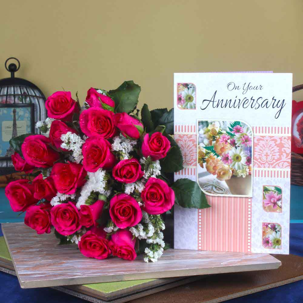Red Roses-Anniversary Greeting Card with Red Roses