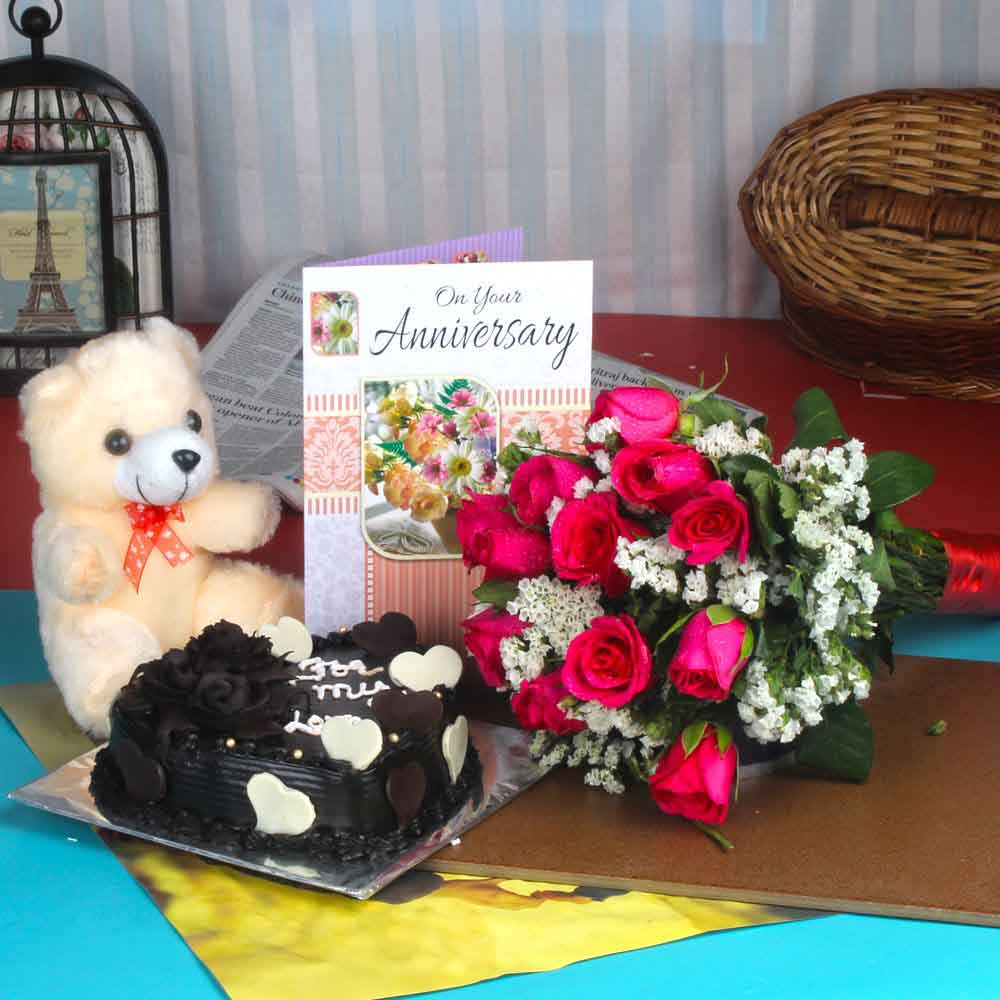 Anniversary Roses Bouquet and Chocolate Cake with Teddy Bear
