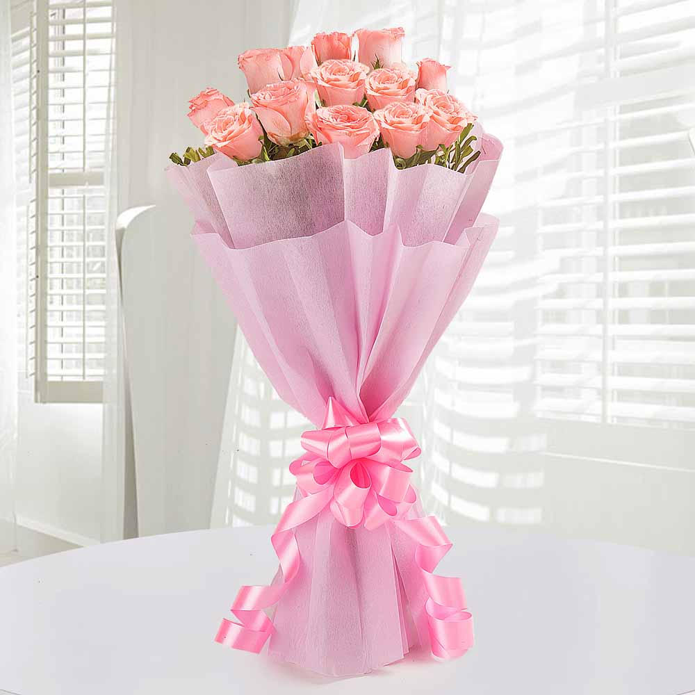 12 Endearing Pink Roses - Midnight Delivery