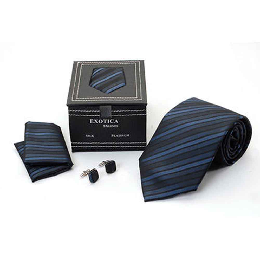 Blue Black Striped Tie Set
