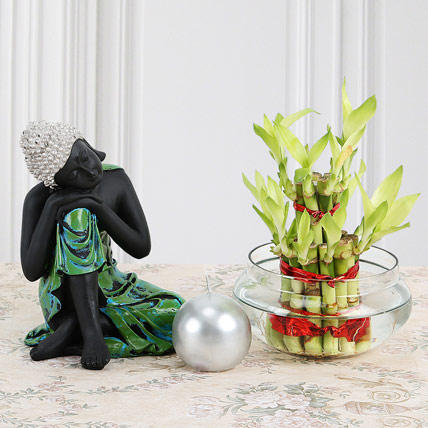 Buddha With Lucky Bamboo