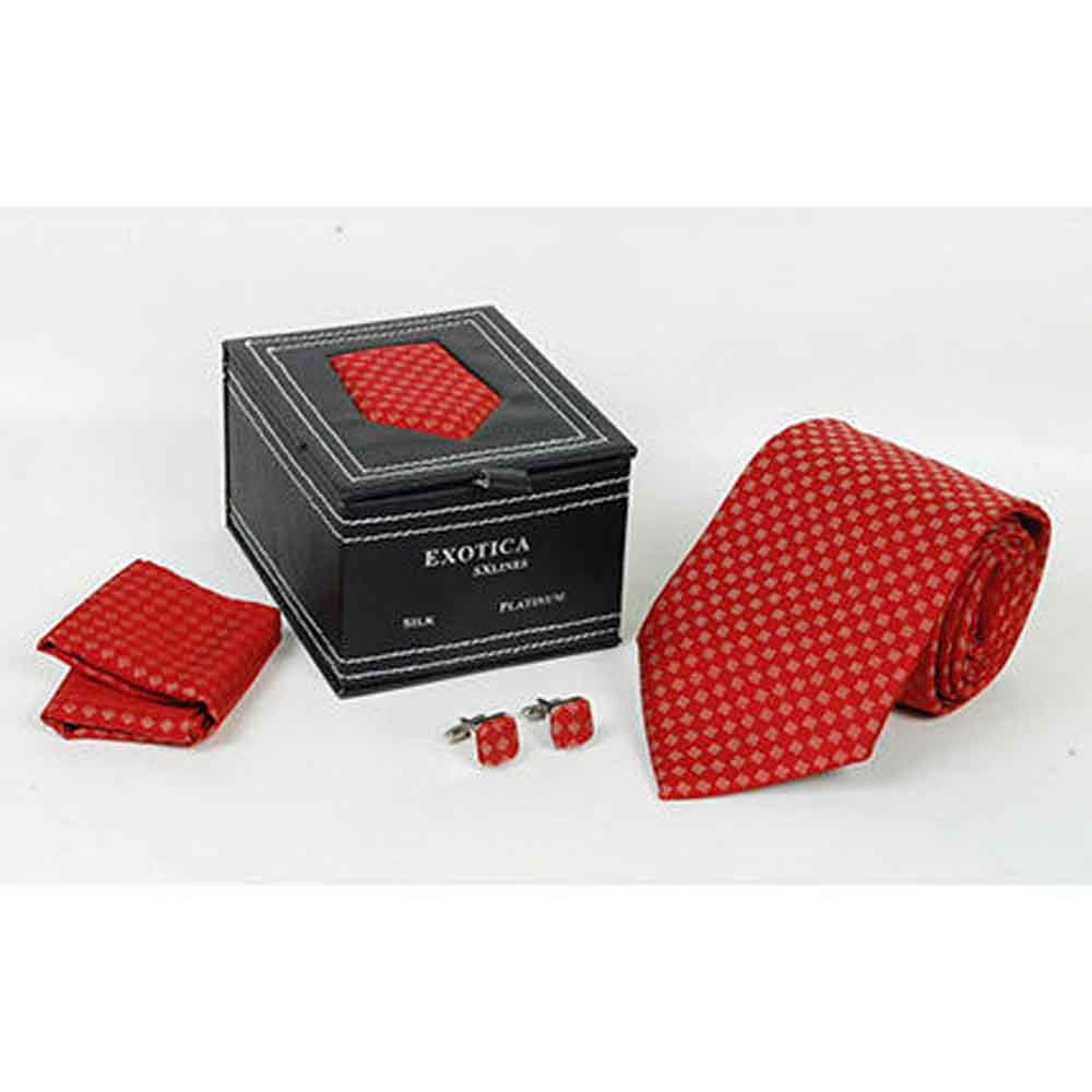 Red Pattern Tie Set