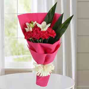 Designer Arrangements-Carnations N White Asiatic Lilies Bunch