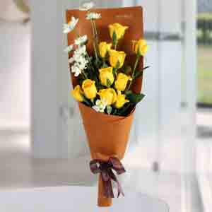 Red Roses-Happy Yellow Roses Bunch