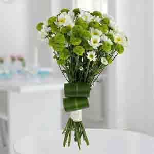Designer Arrangements-White N Green Flower Bunch