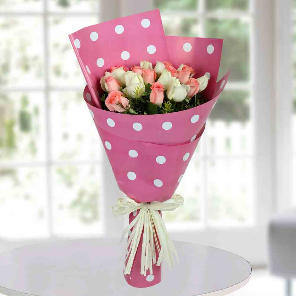 White N Pink Roses Bunch