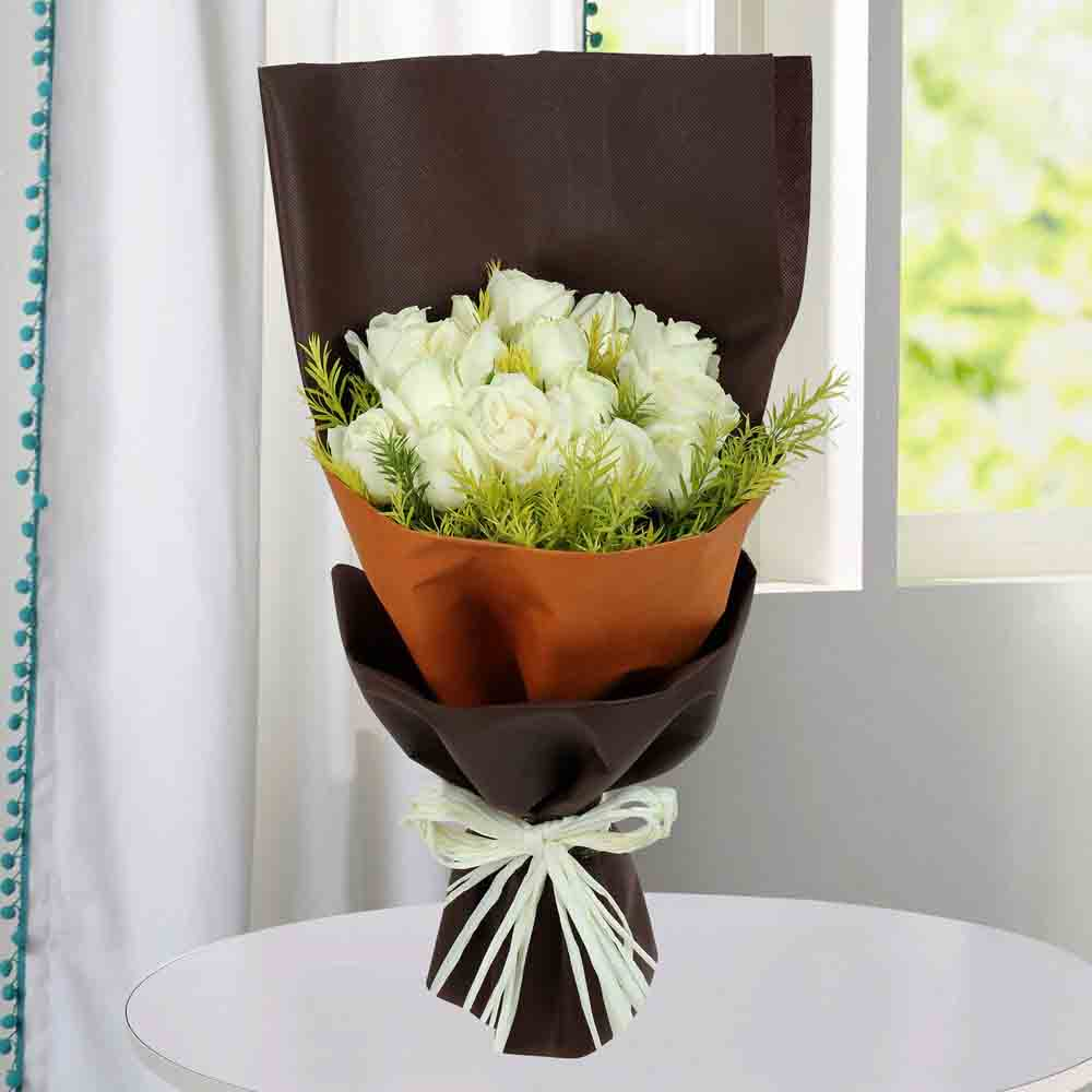 Red Roses-Pure White Roses Bunch