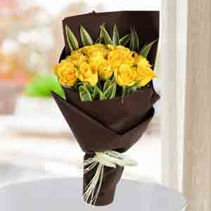 Red Roses-Shining Yellow Roses Bunch