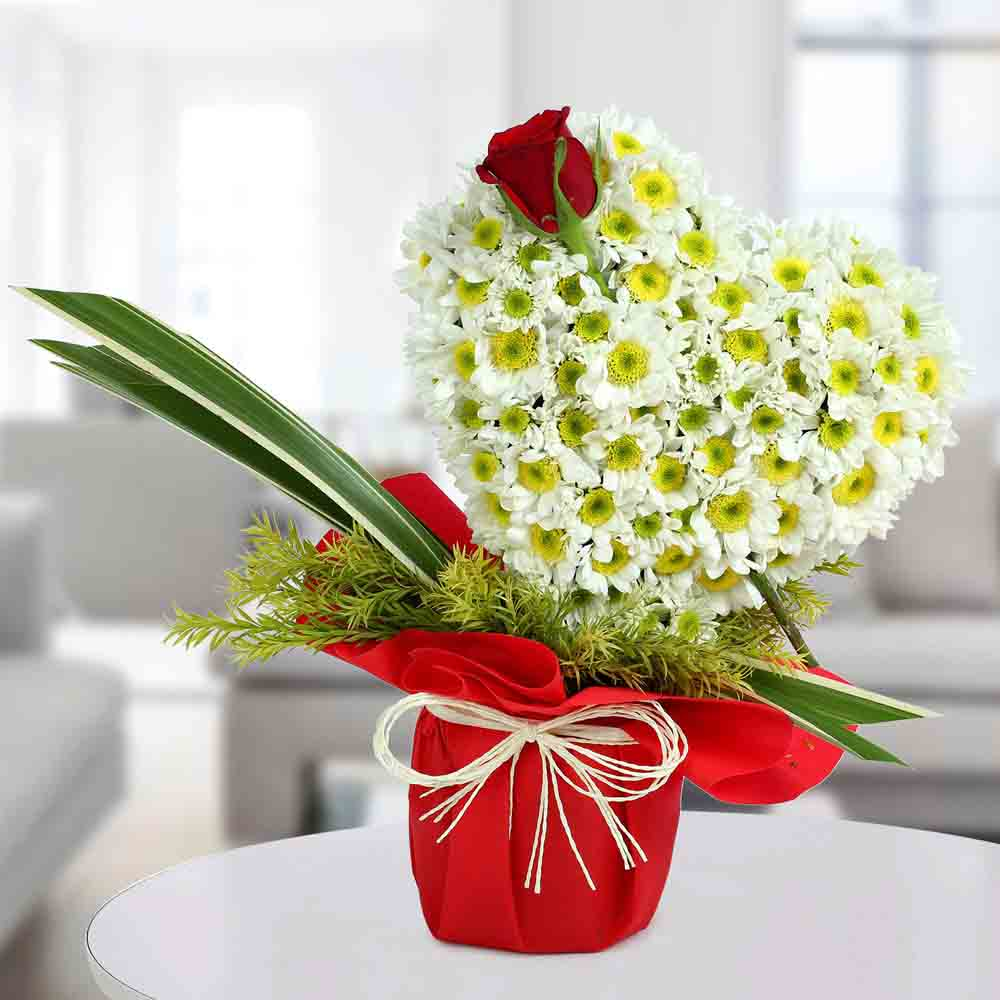 White Floral Heart Arrangement