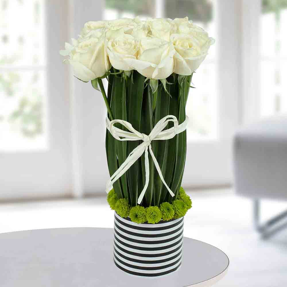 Serene White Rose Arrangement