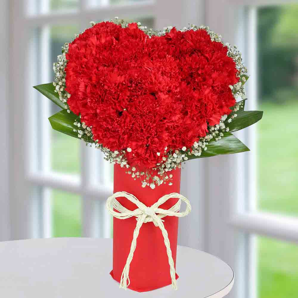 Red Carnation Heart Arrangement