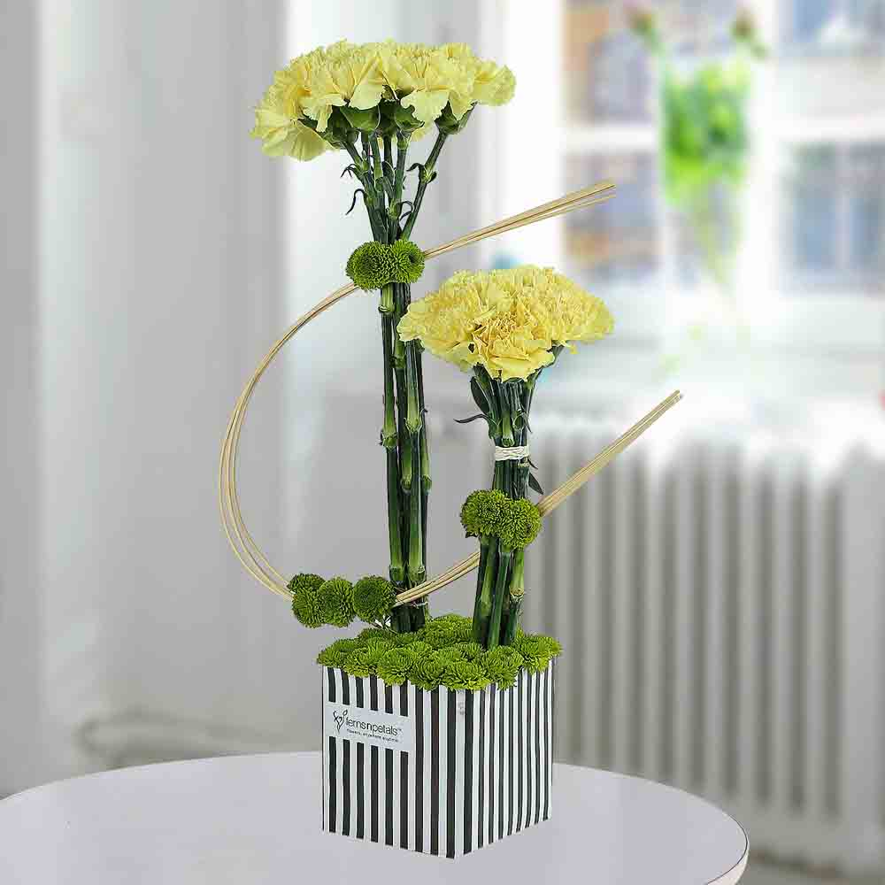 Designer Arrangements-Yellow Carnations Arrangement