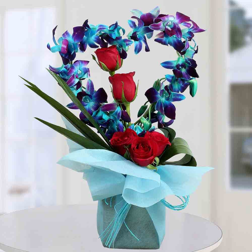 Designer Arrangements-Romantic Heart Shaped Orchids Arrangement