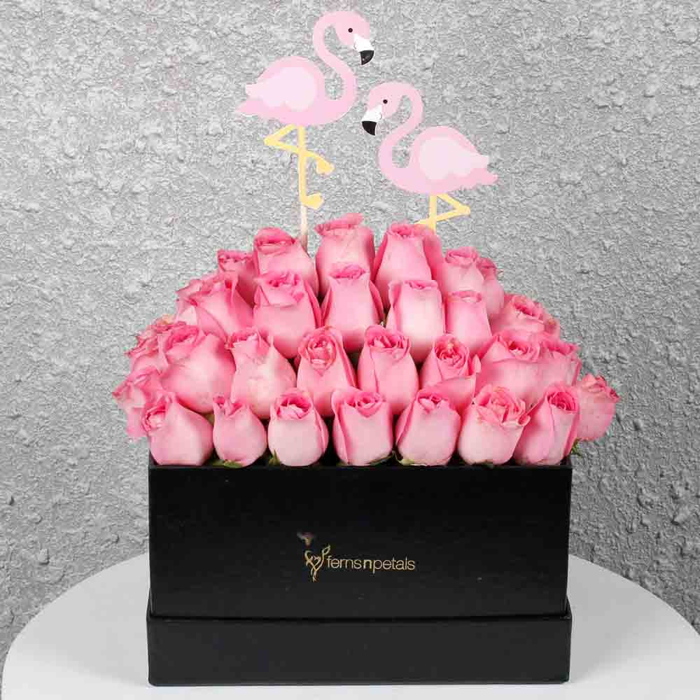 Graceful Pink Roses in a Box