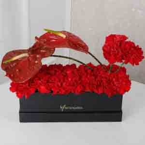 Designer Arrangements-Red Floral Beauty Box