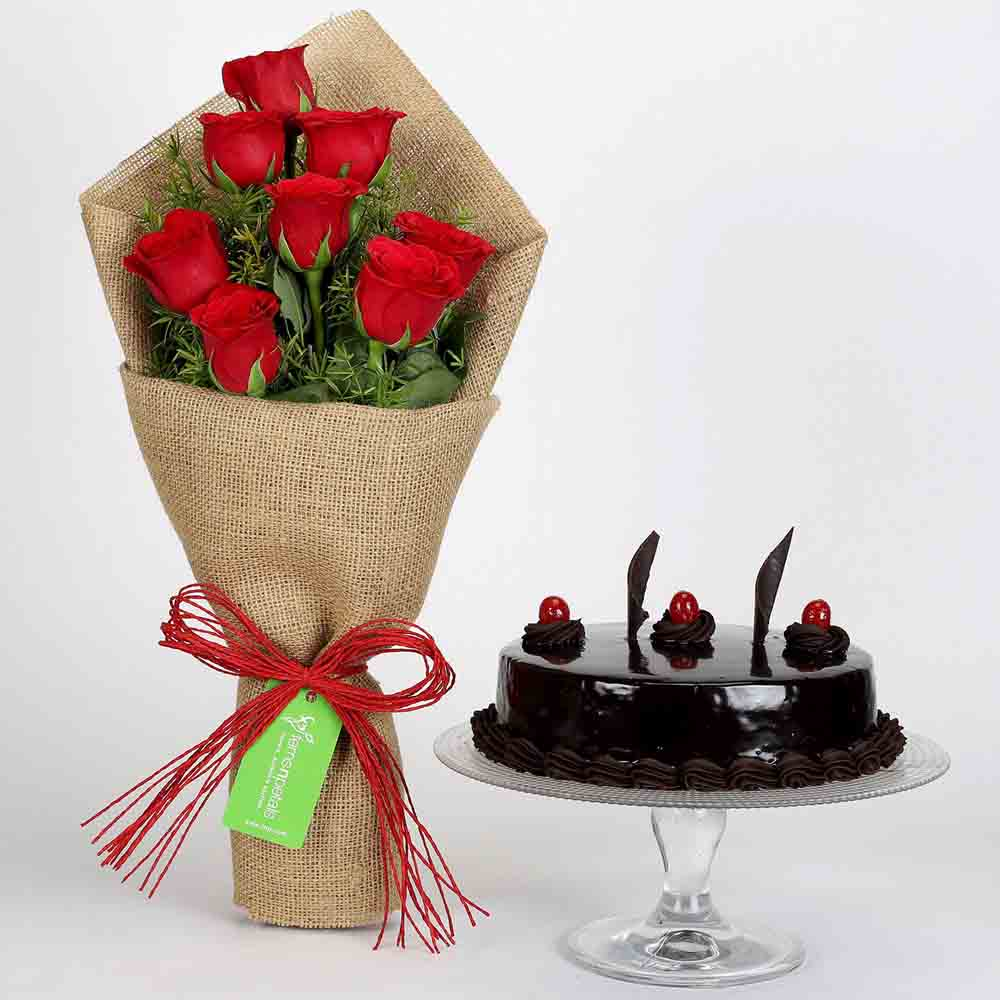 8 Red Roses Bouquet & Truffle Cake