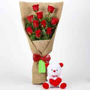Soft Toy Hampers-10 Red Roses Bouquet & Teddy Bear