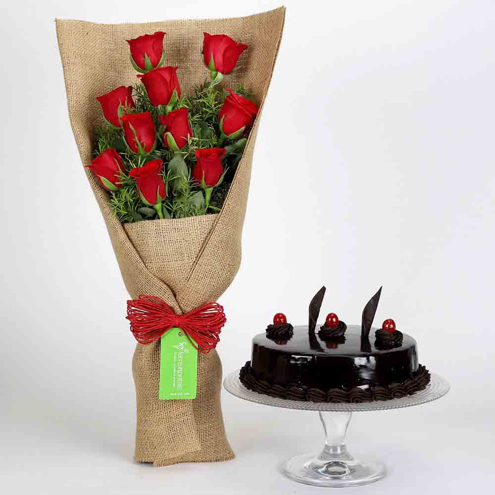 10 Red Roses Bouquet & Truffle Cake
