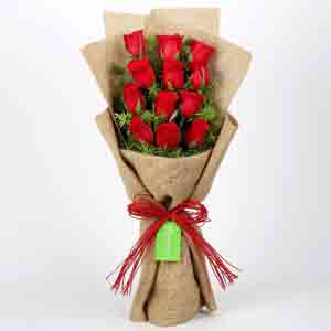 Red Roses-12 Layered Red Roses in Jute Wrapping
