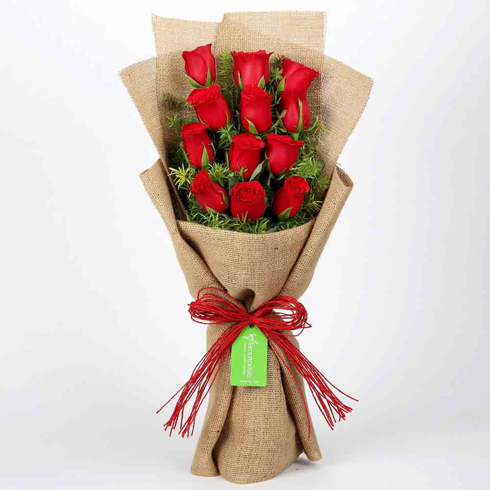 View 12 Layered Red Roses in Jute Wrapping