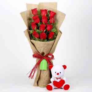 Soft Toy Hampers-12 Layered Red Roses Bouquet & Teddy Bear