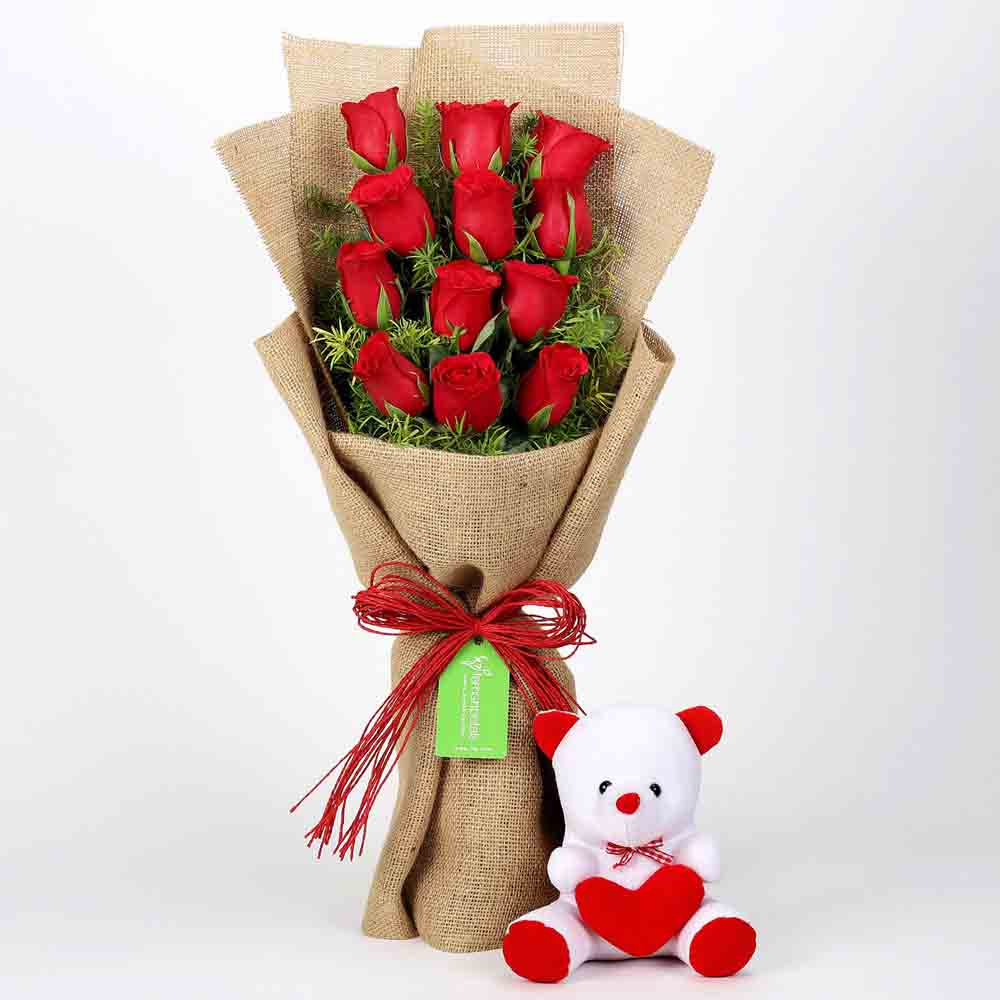 View 12 Layered Red Roses Bouquet & Teddy Bear