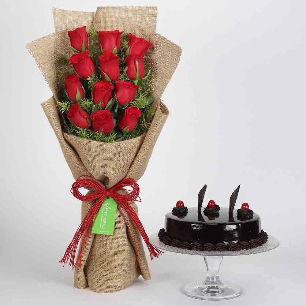 View 12 Layered Red Roses Bouquet & Truffle Cake