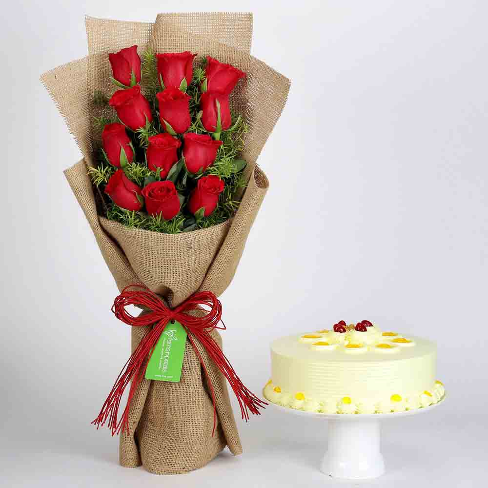 12 Layered Red Roses Bouquet & Butterscotch Cake
