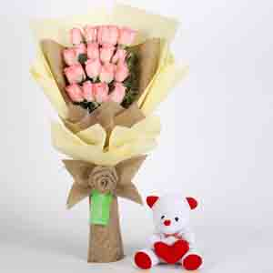 Soft Toy Hampers-20 Pink Roses Bouquet & Teddy Bear Combo