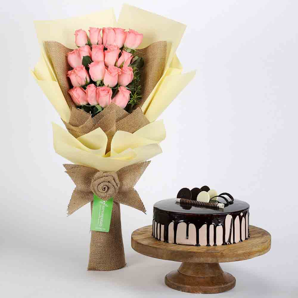 20 Pink Roses Bouquet & Choco Cream Cake