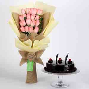 Cakes & Flowers-20 Pink Roses Bouquet & Truffle Cake