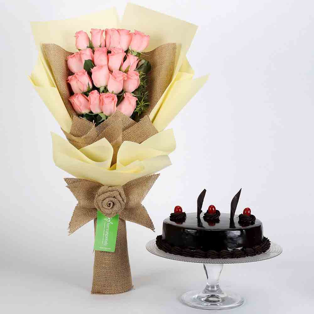 20 Pink Roses Bouquet & Truffle Cake
