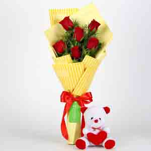 Soft Toy Hampers-6 Red Roses & Teddy Bear Combo