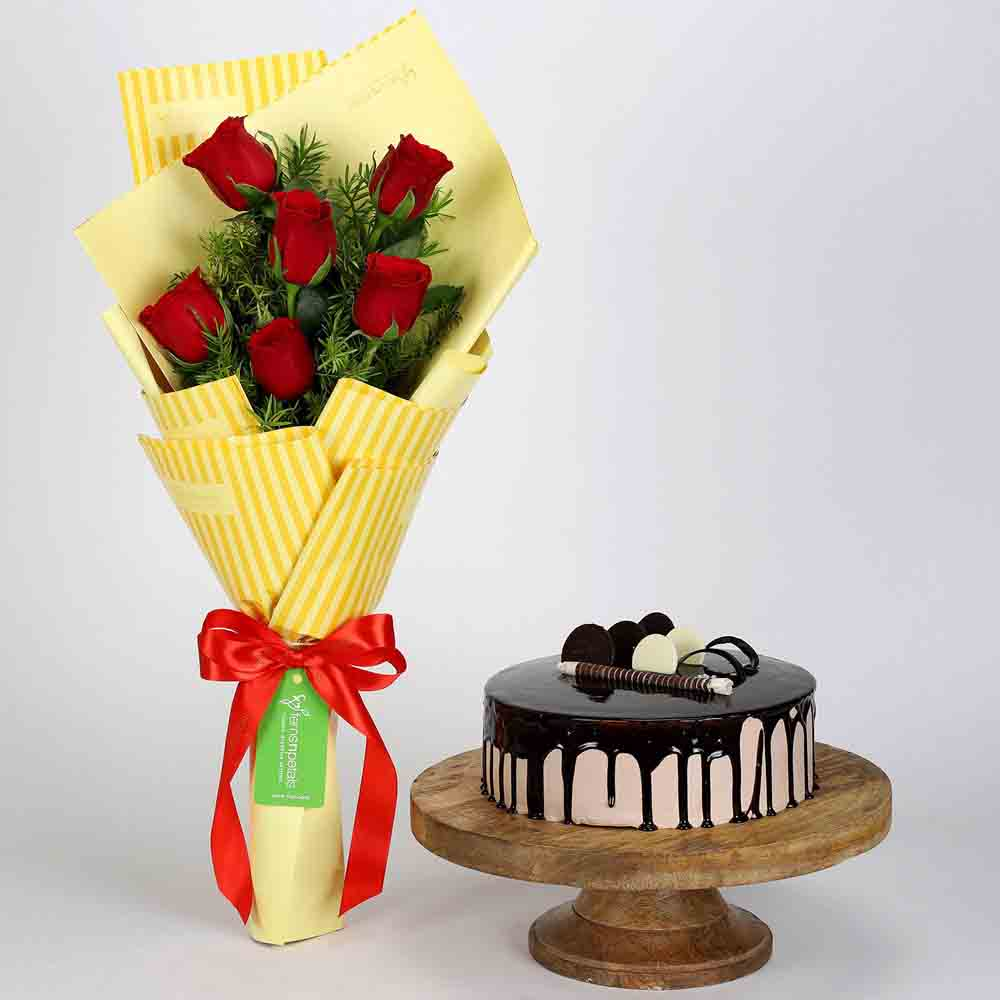 6 Red Roses Bouquet & Choco Cream Cake