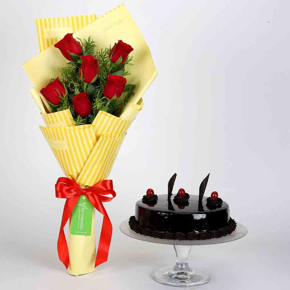 6 Red Roses Bouquet & Truffle Cake